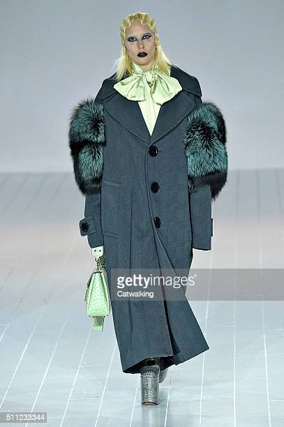 A model walks the runway at the Marc Jacobs Autumn Winter 2016 fashion show during New York Fashion Week on February 18 2016 in New York United States