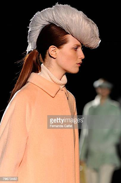 A model walks the runway at the Marc Jacobs Fall 2008 fashion show during MercedesBenz Fashion Week Fall 2008 at the New York State Armory on...