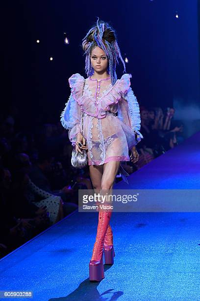 A model walks the runway at the Marc Jacobs fashion show durin New York Fashion Week at Hammerstein Ballroom on September 15 2016 in New York City