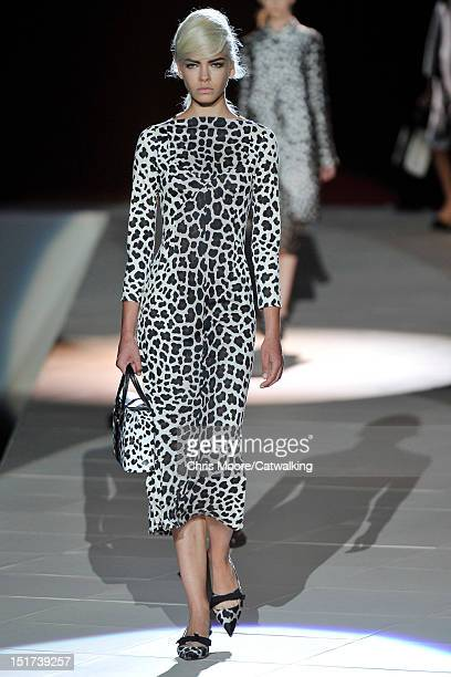Model walks the runway at the Marc Jacobs Spring Summer 2013 fashion show during New York Fashion Week on September 10, 2012 in New York, United...