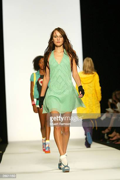 A model walks the runway at the Marc Jacobs Spring/Summer 2004 fashion show at Bryant Park during the 7th on Sixth MercedesBenz New York Fashion Week...