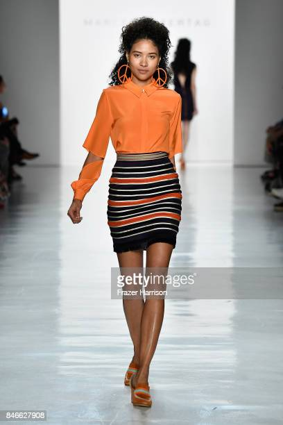 A model walks the runway at the Marcel Ostertag fashion show during New York Fashion Week The Shows at Gallery 3 Skylight Clarkson Sq on September 13...