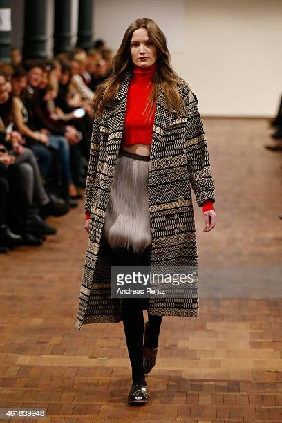 A model walks the runway at the Marcel Ostertag show at Magazin at Heeresbaeckerei on January 20 2015 in Berlin Germany