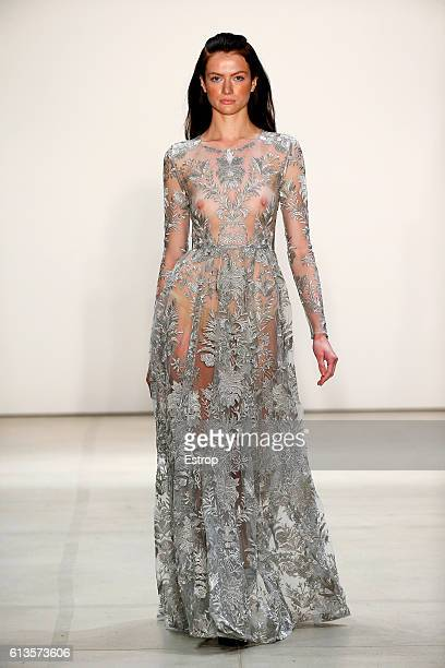 A model walks the runway at the Marcel Ostertag show at The Gallery Skylight at Clarkson Sq on September 13 2016 in New York City
