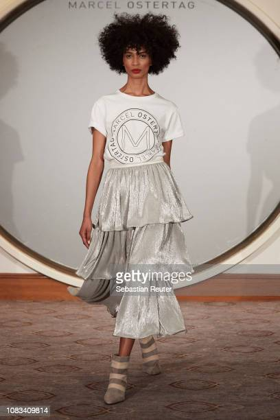 A model walks the runway at the Marcel Ostertag show during the Berlin Fashion Week Autumn/Winter 2019 at Westin Grand Hotel on January 16 2019 in...