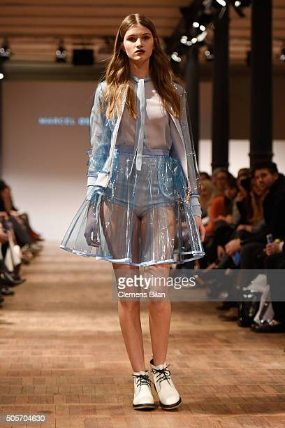 Model walks the runway at the Marcel Ostertag show during the Mercedes-Benz Fashion Week Berlin Autumn/Winter 2016 at Heeresbaeckerei on January 19,...