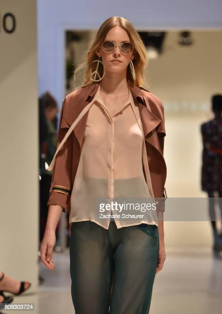 A model walks the runway at the Marcel Ostertag show during the MercedesBenz Fashion Week Berlin Spring/Summer 2018 at Delight Studios on July 5 2017...