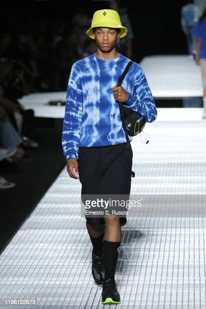 A model walks the runway at the Marcelo Burlon County Of Milan fashion show during the Milan Men's Fashion Week Spring/Summer 2020 on June 15 2019 in...