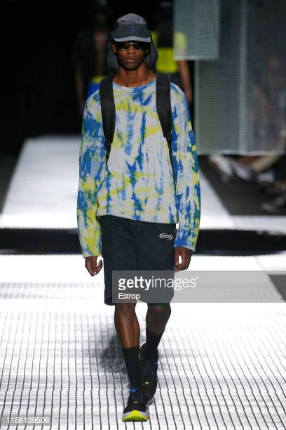 A model walks the runway at the Marcelo Burlon County Of Milan fashion show at the Milan Men's Fashion Week Spring/Summer 2020 on June 15 2019 in...