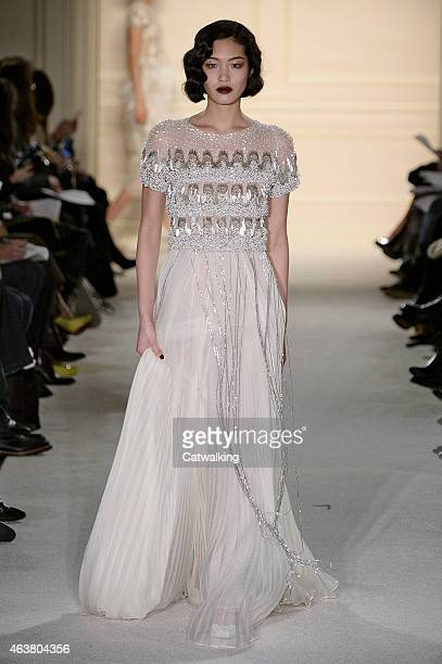 Model walks the runway at the Marchesa Autumn Winter 2015 fashion show during New York Fashion Week on February 18, 2015 in New York, United States.