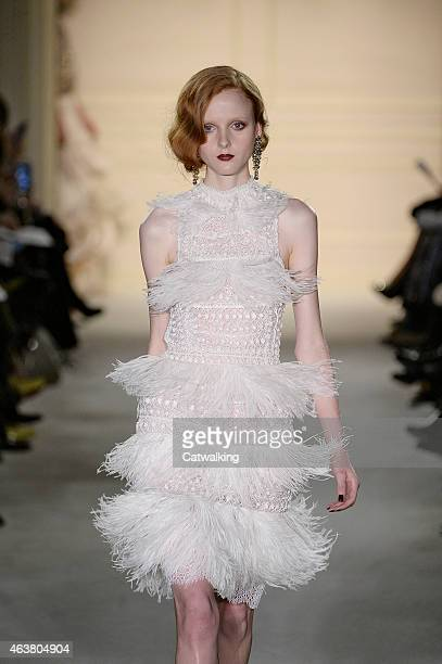 A model walks the runway at the Marchesa Autumn Winter 2015 fashion show during New York Fashion Week on February 18 2015 in New York United States