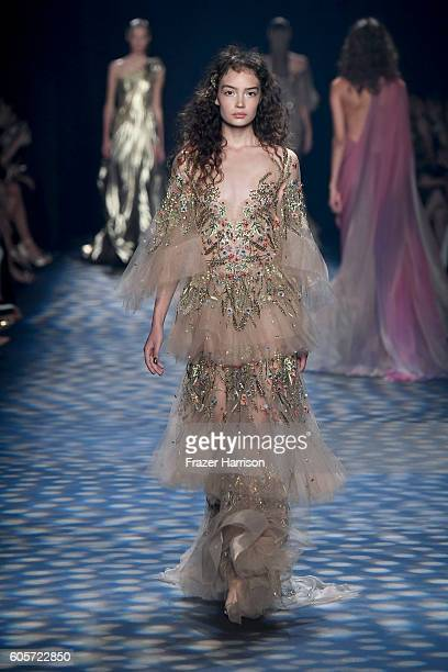 A model walks the runway at the Marchesa fashion show during New York Fashion Week The Shows at The Dock Skylight at Moynihan Station on September 14...