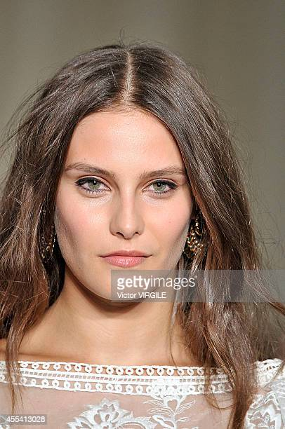 A model walks the runway at the Marchesa Ready to Wear show during London Fashion Week Spring Summer 2015 on September 13 2014 in London England