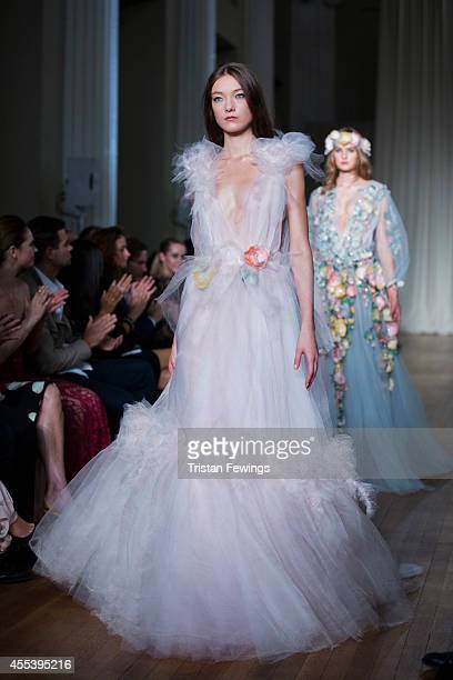 A model walks the runway at the Marchesa show during London Fashion Week Spring Summer 2015 on September 13 2014 in London England