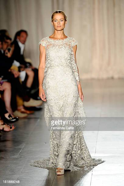 Model walks the runway at the Marchesa Spring 2013 fashion show during mercedes-Benz Fashion Week at Vanderbilt Hall Grand Central Station on...
