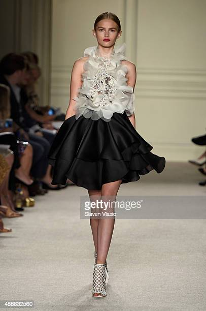 A model walks the runway at the Marchesa Spring 2016 fashion show during New York Fashion Week at St Regis Hotel on September 16 2015 in New York City