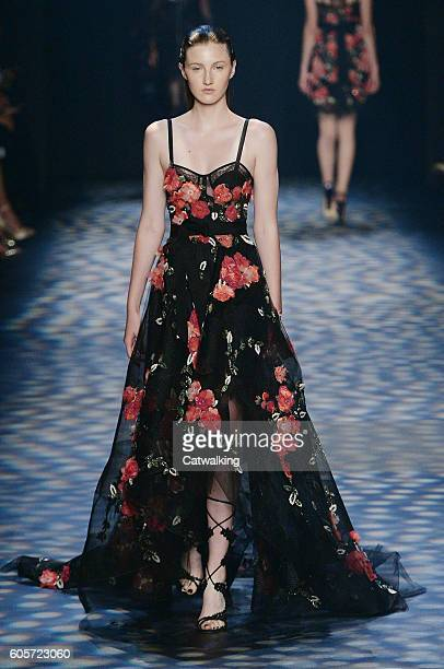 A model walks the runway at the Marchesa Spring Summer 2017 fashion show during New York Fashion Week on September 14 2016 in New York United States