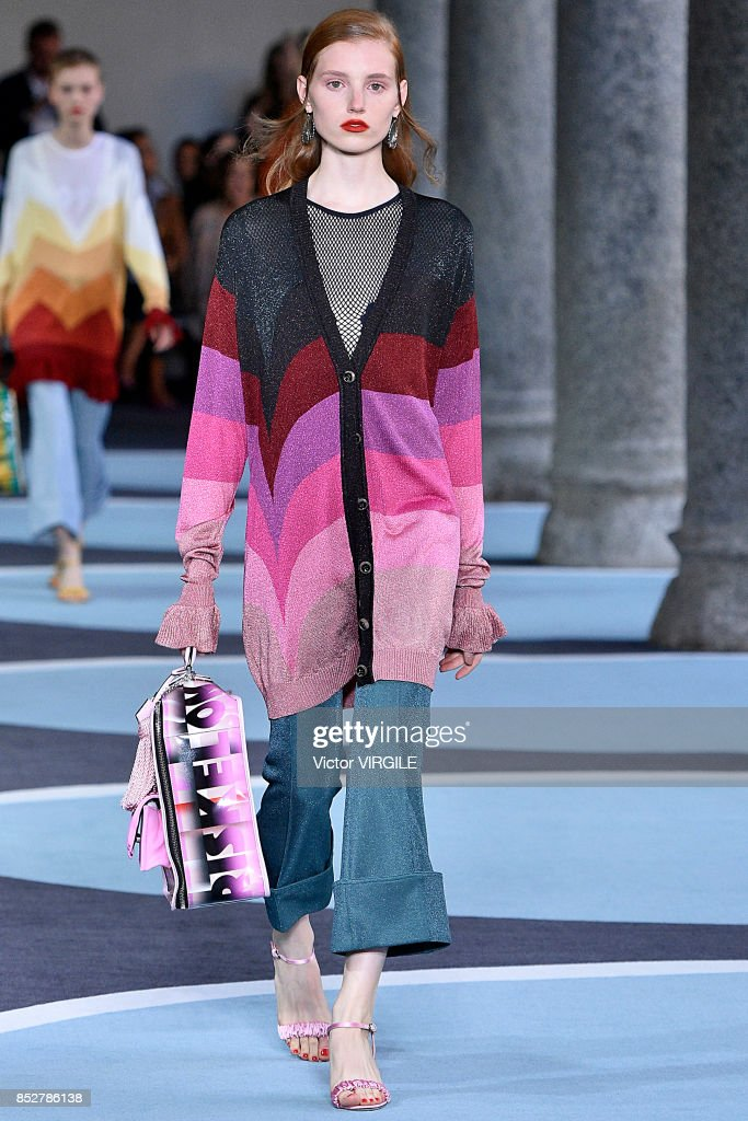 A model walks the runway at the Marco de Vicenzo Ready to Wear Spring/Summer 2018 fashion show during Milan Fashion Week Spring/Summer 2018 on September 22, 2017 in Milan, Italy.