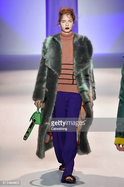 A model walks the runway at the Marco de Vincenzo Autumn Winter 2016 fashion show during Milan Fashion Week on February 26 2016 in Milan Italy