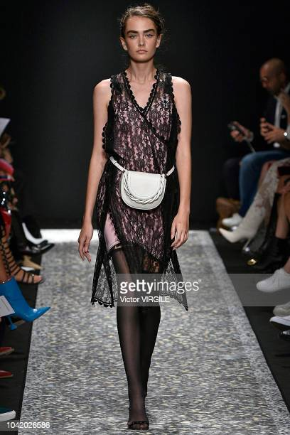 A model walks the runway at the Marco De Vincenzo Ready to Wear fashion show during Milan Fashion Week Spring/Summer 2019 on September 21 2018 in...
