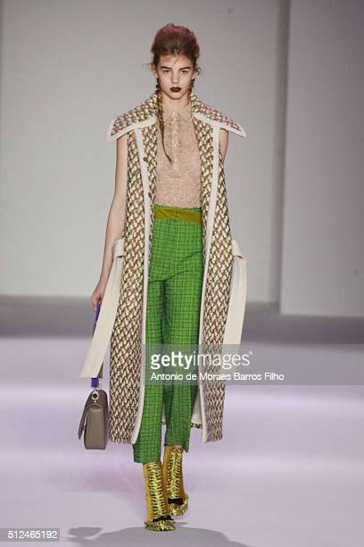 A model walks the runway at the Marco De Vincenzo show during Milan Fashion Week Fall/Winter 2016/17 on February 26 2016 in Milan Italy