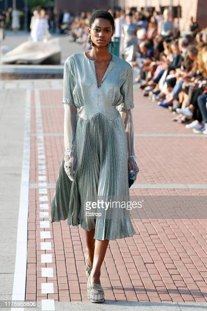 Model walks the runway at the Marco De Vincenzo show during the Milan Fashion Week Spring/Summer 2020 on September 20, 2019 in Milan, Italy.