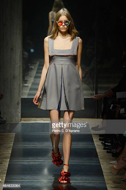 A model walks the runway at the Marco De Vincenzo show during the Milan Fashion Week Autumn/Winter 2015 on February 27 2015 in Milan Italy