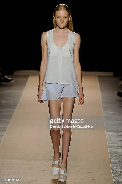 A model walks the runway at the Marco de Vincenzo Spring Summer 2013 fashion show during Milan Fashion Week on September 23 2012 in Milan Italy