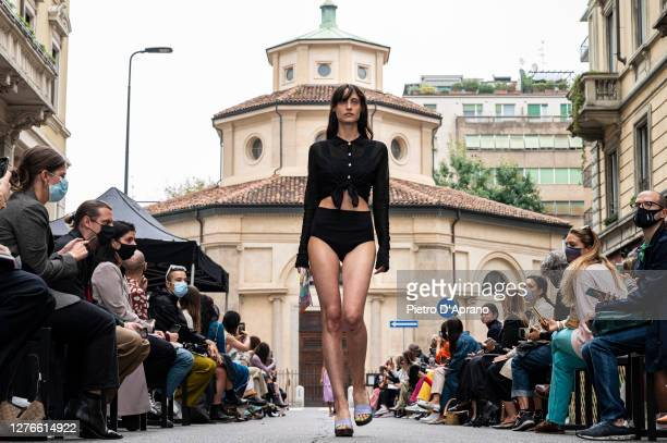 A model walks the runway at the Marco Rambaldi fashion show during the Milan Women's Fashion Week on September 25 2020 in Milan Italy