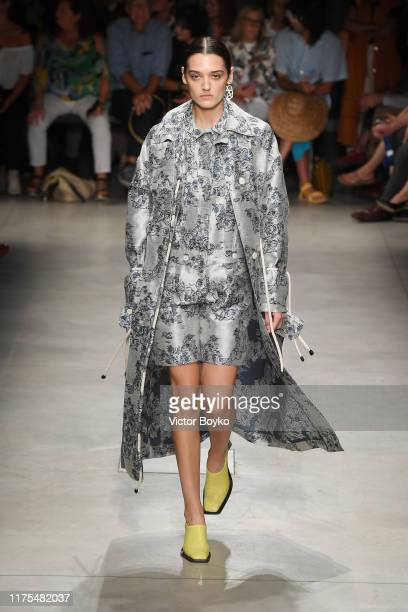 A model walks the runway at the Marco Rambaldi show during the Milan Fashion Week Spring/Summer 2020 on September 18 2019 in Milan Italy