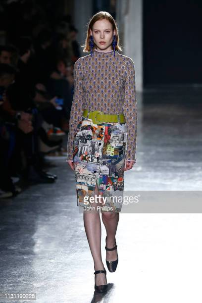 A model walks the runway at the Marco Rambaldi Supported By CNMI e CNMI Fashion Trust show at Milan Fashion Week Autumn/Winter 2019/20 on February 21...