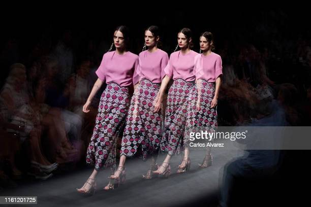 Model walks the runway at the Marcos Luengo fashion show during the Mercedes Benz Fashion Week Spring/Summer 2020 at Ifema on July 10, 2019 in...