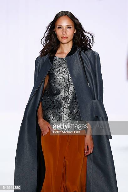A model walks the runway at the Mareike Massing show 'Designer for Tomorrow' by Peek Cloppenburg and Fashion ID during the MercedesBenz Fashion Week...
