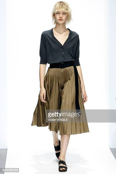Model walks the runway at the Margare Howell show during London Fashion Week Spring/Summer collections 2016/2017 on September 18, 2016 in London,...