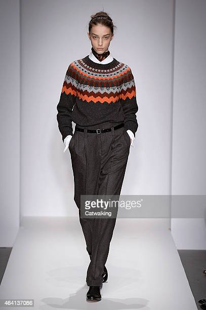 Model walks the runway at the Margaret Howell Autumn Winter 2015 fashion show during London Fashion Week on February 22, 2015 in London, United...