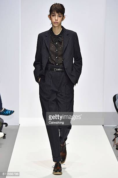 A model walks the runway at the Margaret Howell Autumn Winter 2016 fashion show during London Fashion Week on February 21 2016 in London United...