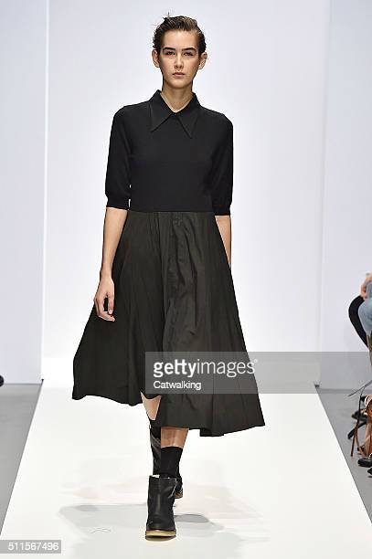 Model walks the runway at the Margaret Howell Autumn Winter 2016 fashion show during London Fashion Week on February 21, 2016 in London, United...