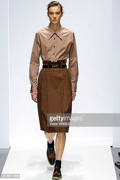 Model walks the runway at the Margaret Howell fashion show during London Fashion Week Autumn/Winter 2016/2017 on February 21, 2016 in London, England.