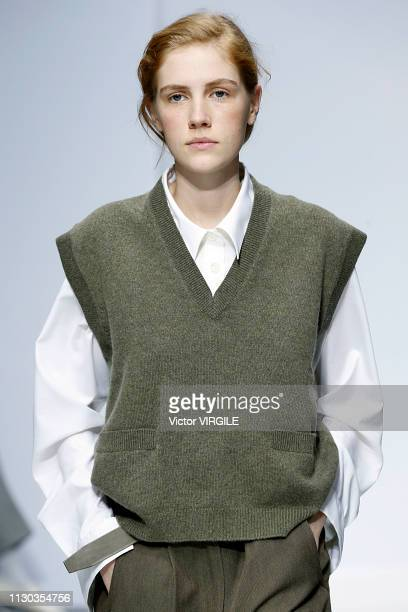 Model walks the runway at the Margaret Howell Ready to Wear Fall/Winter 2019-2020 fashion show during London Fashion Week February 2019 on February...