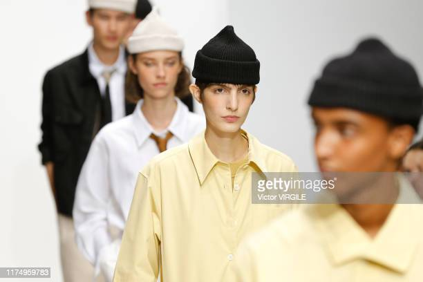 Model walks the runway at the Margaret Howell Ready to Wear Spring/Summer fashion show during London Fashion Week September 2019 on September 15,...
