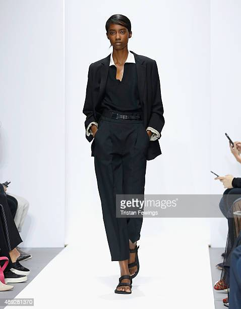 A model walks the runway at the Margaret Howell show during London Fashion Week Spring/Summer 2016 on September 20 2015 in London England
