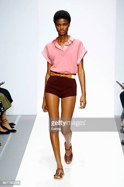 A model walks the runway at the Margaret Howell show during London Fashion Week Spring/Summer collections 2017 on September 18 2016 in London United...