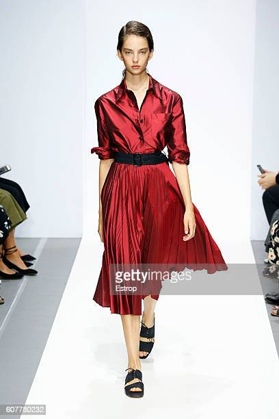 Model walks the runway at the Margaret Howell show during London Fashion Week Spring/Summer collections 2017 on September 18, 2016 in London, United...