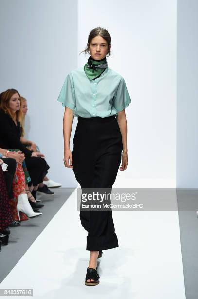A model walks the runway at the Margaret Howell show during London Fashion Week September 2017 on September 17 2017 in London England