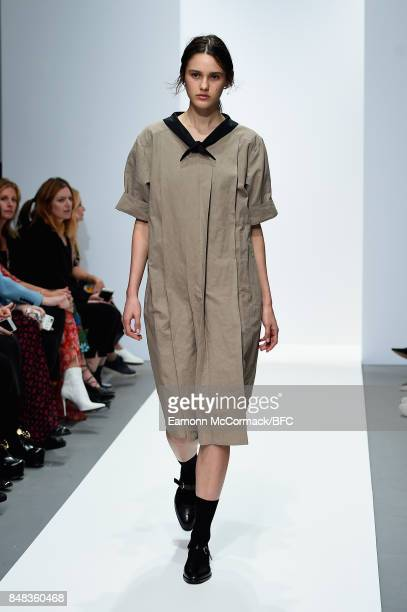 Model walks the runway at the Margaret Howell show during London Fashion Week September 2017 on September 17, 2017 in London, England.