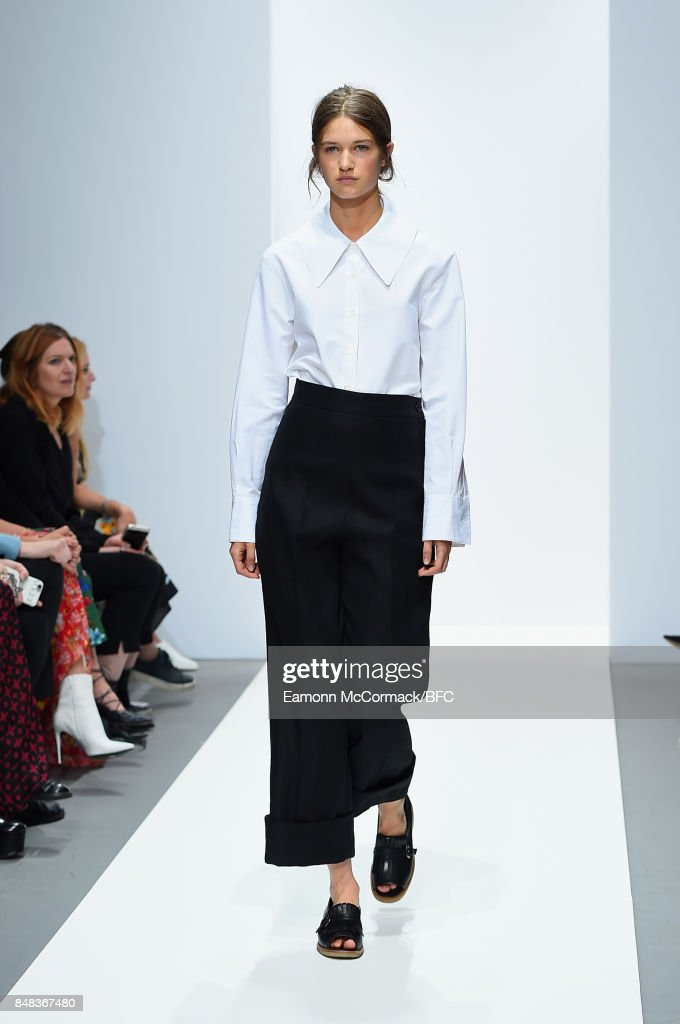 A model walks the runway at the Margaret Howell show during London Fashion Week September 2017 on September 17, 2017 in London, England.