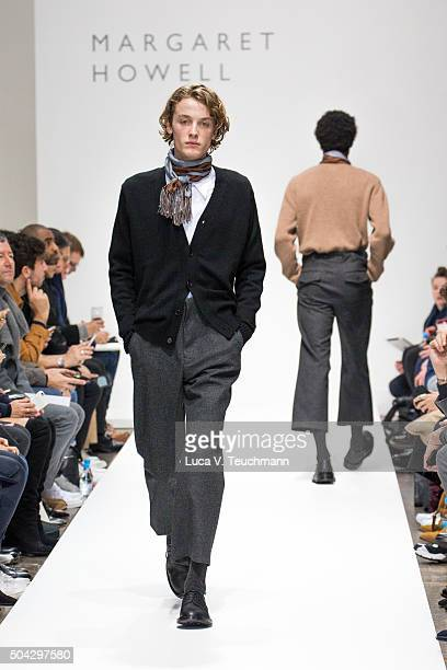 Model walks the runway at the Margaret Howell show during The London Collections Men AW16 at on January 10, 2016 in London, England.