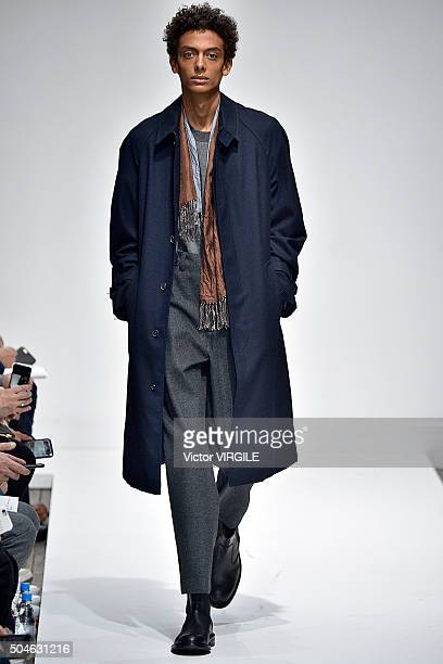 Model walks the runway at the Margaret Howell show during The London Collections Men AW16 on January 10, 2016 in London, England.