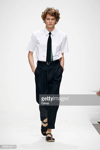 A model walks the runway at the Margaret Howell show during The London Collections Men SS17 on June 12 2016 in London England