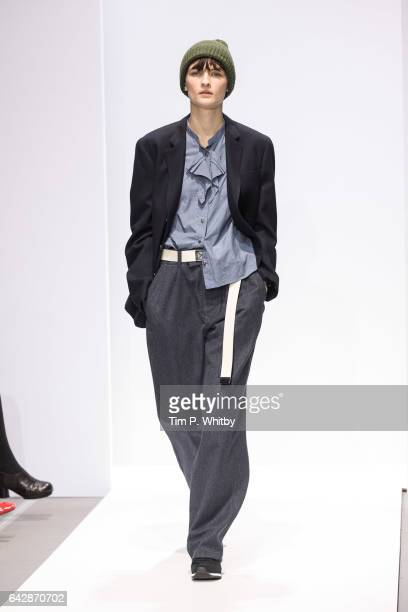 A model walks the runway at the Margaret Howell show during the London Fashion Week February 2017 collections at Rambert on February 19 2017 in...